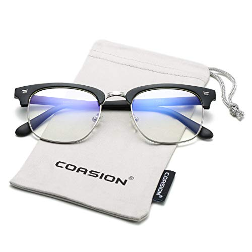 (COASION Blue Light Blocking Glasses Semi-Rimless Clear Lens Computer Game Eyeglasses Eyewear Frame (Matte Black) )