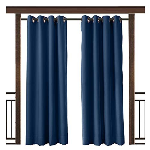 TWOPAGES Outdoor Curtain Waterproof Rustproof Grommet Drape Navy (Set of 2 Panels) 52 W x 63 L Inch, for Front Porch Pergola Cabana Covered Patio Gazebo Dock Beach Home