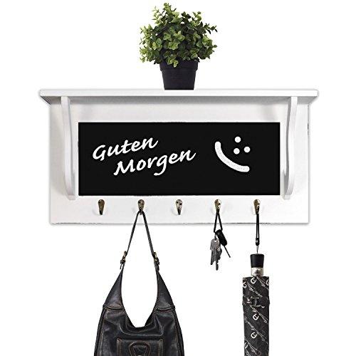 Schicke Wandgarderobe Garderobenpaneel Flurgarderobe aus Holz mit Tafel, 54x13x26cm, für Hausflur, Diele, Küche, weiß/matt, 5 Haken