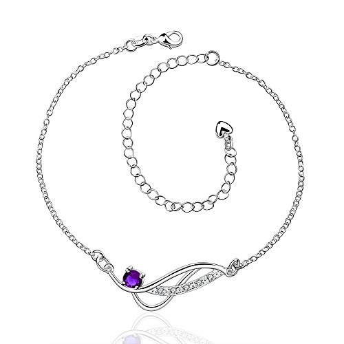 Diamond Sandal Pendant - Zhiwen Women's 925 Silver Chain Infinite Anklet Foot Bracelet Sandals Beach Feet Diamond Pendant Anklet Adjustable (Purple gem)