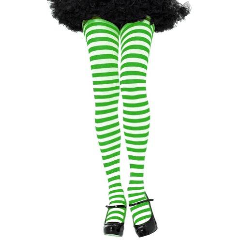 Green Costume Tights (Leg Avenue Women's Nylon Striped Tights, White/Kelly Green, One Size)