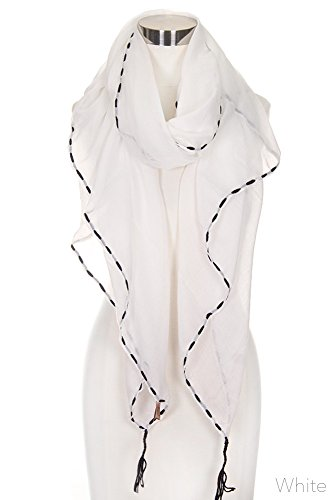 ScarvesMe Women's Solid Color Stitch Embroidered with Tassel Lightweight Oblong Scarf (White) by ScarvesMe