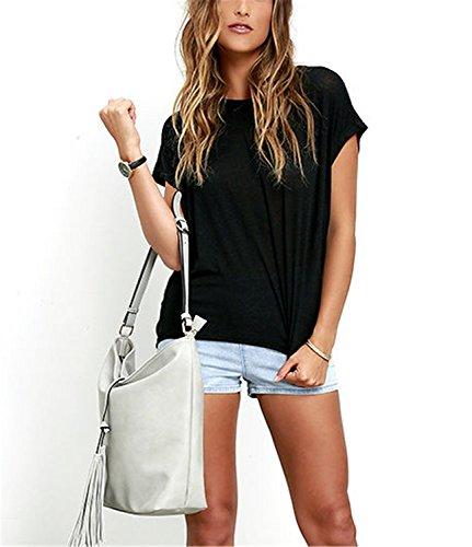 YOGLY Blusas Mujeres Camiseta Verano Camisa de Mujer Sin Respaldo Camiseta Atractiva T Shirt Negro