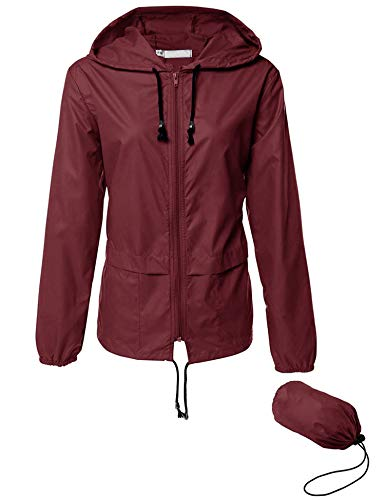 Packable Travel Rain Jacket Women Hot Jogging Modern Coat jakkt Wine Red XXL