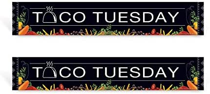 "School Nutrition Poster | Taco Tuesday Sign Set | 36"" x 6 ¼"" Laminated, Set of Two (Same Design)"