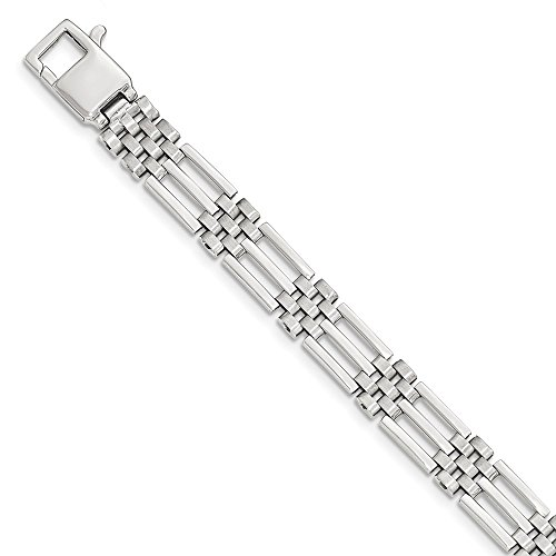 White Gold Panther - Men's 9mm 14k White Gold Bar and Panther Link Bracelet, 8.5 Inch