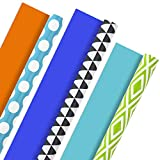 Hallmark Reversible Wrapping Paper, Brights - Green, Gray, Teal Prints and Orange, Blue, Purple Solids (Pack of 3, 120 sq. ft. ttl.) for Birthdays, Halloween, Baby Showers and More