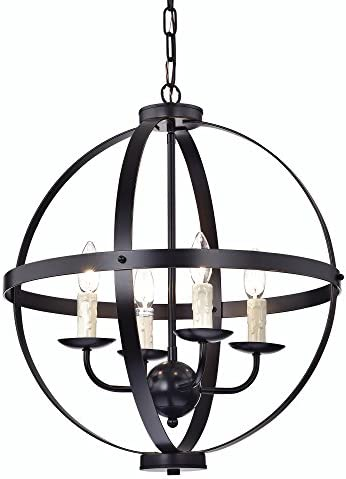 Edvivi 4- Light Oil Rubbed Bronze Globe Sphere Cage Chandelier Ceiling Fixture with Dripping Candles Modern Farmhouse Lighting