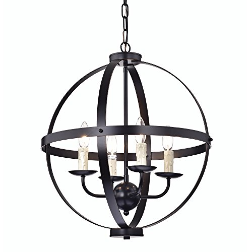 Edvivi 4- Light Oil Rubbed Bronze Globe Sphere Cage Chandelier Ceiling Fixture with Dripping Candles | Modern Farmhouse Lighting