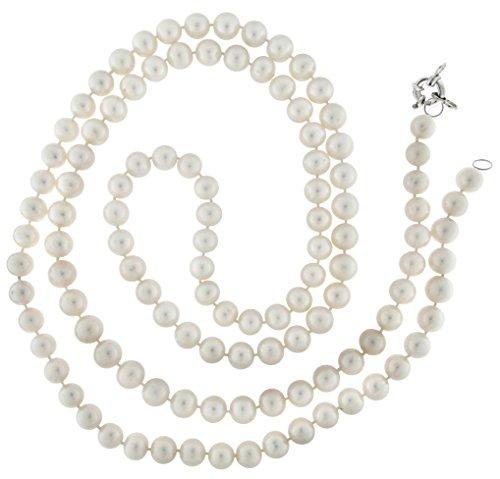 Collier Perles Culture Eau Douce 9-10mm long 100cm pression marin.
