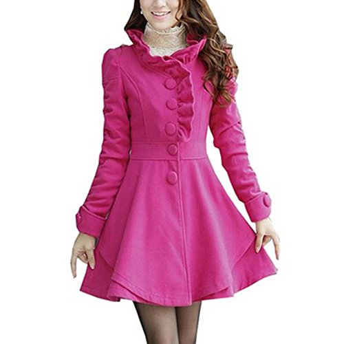 Ruffle Peacoat (Partiss Womens Ruffles Collar PeaCoat NeonPink,Medium)