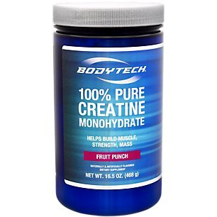 BodyTech 100 Pure Creatine Monohydrate 5GM, Fruit Punch Improve Muscle Performance, Strength Mass (16.5 Ounce Powder) ()