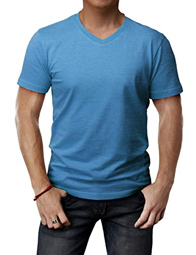 (H2H Mens Fashionable V-Neck Short Sleeve Cotton Blended T-Shirts ULTRAMARINEBLUE US M/Asia L (CMTTS0197))