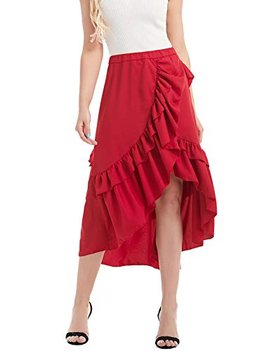 CHICIRIS Adjustable Ruffle High Low Gothic Plus Size Steampunk Corset Long Skirt Wine Red ()