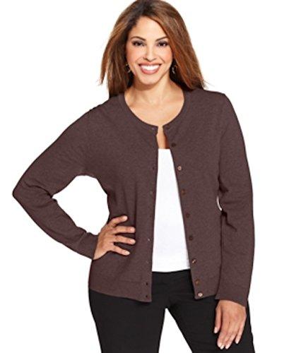 Karen scott women long sleeve cardigan plus size 0x mocha heathr