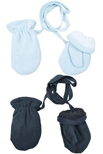 BODY STRENTH Kids Winter Gloves Warm Mittens Polar Fleece 2/3 Pairs Blue and - Stretch Fleece Mittens