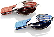 2-Pack Camping Cutlery Folding Cutlery Stainless Steel 4 in 1 Growled Aluminum Handle Outdoor Survival Cutlery