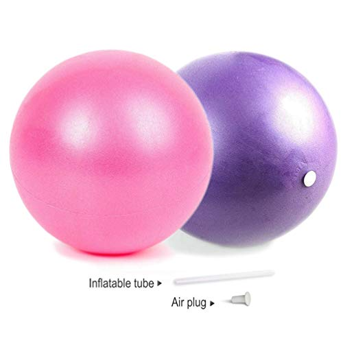 Mini Exercise Barre Ball for Yoga,Pilates,Stability Exercise Training Gym Anti Burst and Slip Resistant Balls(2 Pcs) with Inflatable Straw (2 Pcs)
