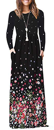 BOCOTUBE Womens Casual Floral Printed Long Sleeve Maxi Dresses Empire Waist Pleated Dress Pockets