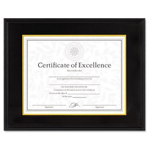 - Dax 1511TB Hardwood Document/Certificate Frame w/Mat, 11 x 14, Black