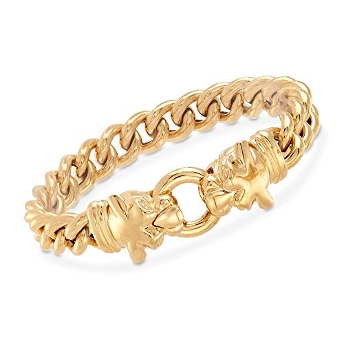 Ross-Simons Italian 18kt Gold Over Sterling Double Panther Head Bracelet ()