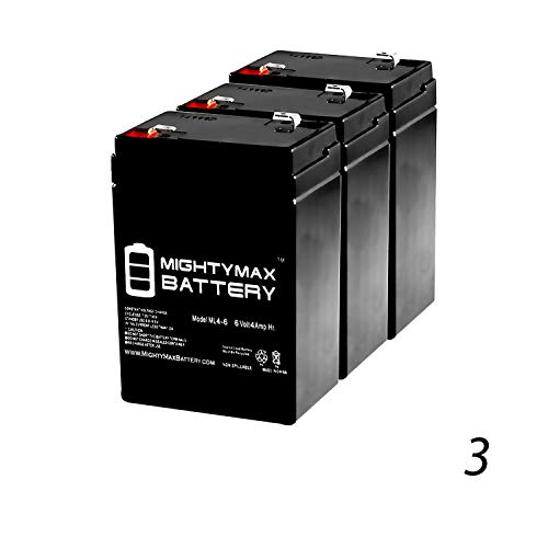 Mighty Max Battery ML4-6 - 6V 4.5AH Lithonia ELB06042 SLA Replacement Battery - 3 Pack Brand - Lighting Replacement Emergency Battery