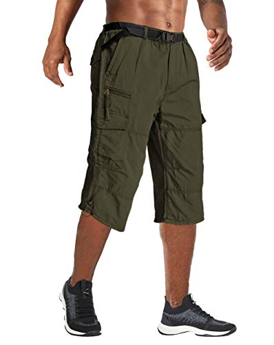 Wohthops Men's Cargo Shorts Below Knee Big and Tall Casual 3/4 Capri Pants Elastic Waist with Multi Pockets