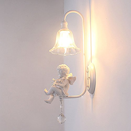 Italian Contemporary Sconce - Italian Milan White Resin Baby Violin Angel Bedroom Bedsides Wall Lights Clear Glass Lampshade Elegant Living Room Crystal Wall Lamps Corridor Hallway Wall Sconces