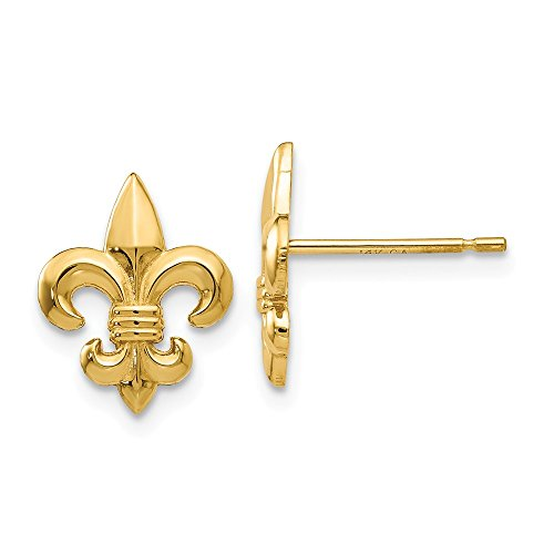 Mia Diamonds 14k Solid Yellow Gold Gold Polished Fleur De Lis Post Earrings (13mm x 10mm)