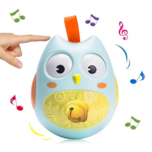 DRAWIGER Owl Tumbler Rattle Toys for Baby Roly-poly Toddler Stroller for Boys and Girls Children's Gift (Green)