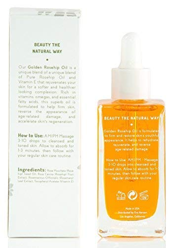 Eve Hansen Regenerating Facial Oil with Pure Rosehip Seed Oil, Vitamin E, Rosemary and Wild Rose Fruit Extract | Natural Anti-Aging Moisturizer for Face, Acne Scars, Dark Spots (1.7 oz)