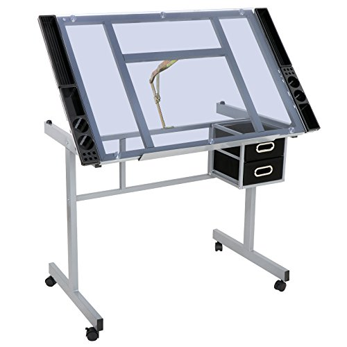 ZENSTYLE Adjustable Multifunctional Drafting Drawing Table Desk Tempered Glass Top Art Craft w/Drawers, Castors by ZENSTYLE