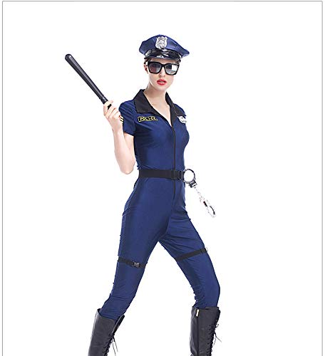 XSQR Police Fancy Halloween Costume Sexy Outfit Woman Uniform Cosplay Sexy Police Costumes for Women 7pcs/Set,Blue,M ()