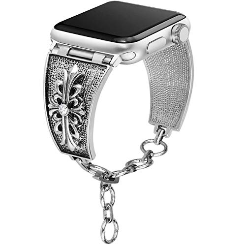 [Chrome Floral Version] Somoder Bling Bands Compatible with Apple Watch Band 38mm 40mm, Vintage Chain Jewelry Cuff Bracelet with Rhinestone Replacement for Iwatch Series 4/3/2/1, Sport Edition, Nike+ ()