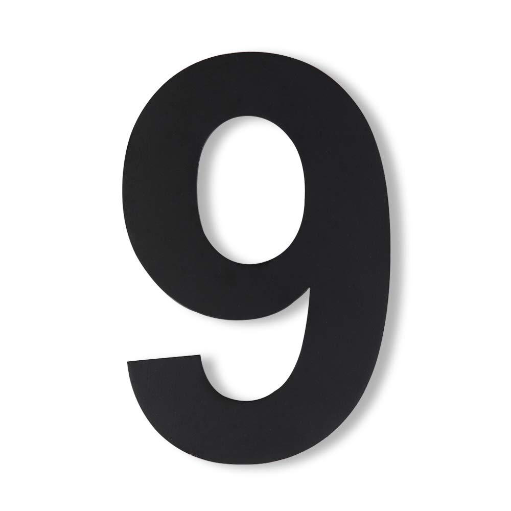 Mellewell 家やホテルの住所用番号 浮いているように見える 取り付け式 6インチのステンレススチール つや消しニッケル HN06, Number 9 HN06B-9 B074K4B9ZV ブラック Number 9