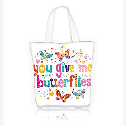 Reusable Cotton Canvas Zipper bag You give me butterflies Tote Laptop Beach Handbags W11xH11xD3 INCH