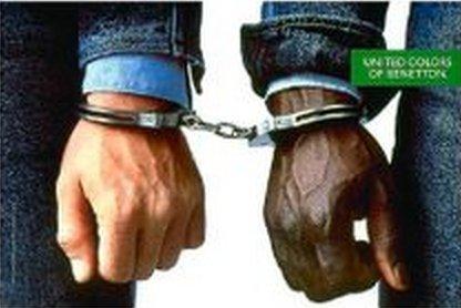 Series Handcuffs (MAGAZINE ADVERTISEMENT For Benetton 1989 Controversy Series Handcuff Scene)