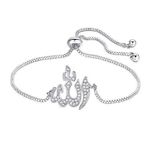 Suplight Allah Bracelet CZ Adjustable Chain Muslim Jewelry White Gold Allah  Charm Bracelet Islamic Gift for d7e4e7f36735