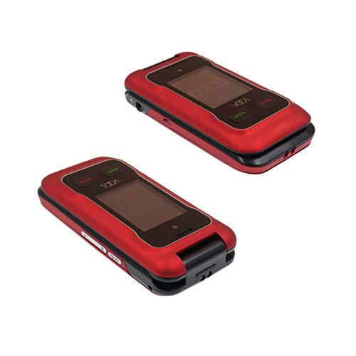 VOCA V530 Unlocked 3G Senior Flip Cell Phone Big Button Hearing Aid Compatible Red