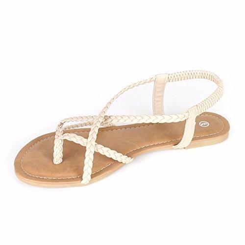 Anna Kvinners Flettet Strappy Gladiator Flat Sandal Y-stropp Ting Flip Flop Sandaler Beige