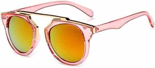 8908ca73d35 HUAYI Women s Trend Frame Glasses Retro Style Color Mirror Sunglasses
