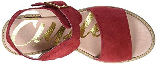 Donne Fibbia Camoscio Cuple Fuoco Delle Sandali Rosso Cinghia Sandalo rosso w1xwYOqH