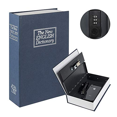 "Kyodoled Diversion Book Safe with Combination Lock, Safe Secret Hidden Metal Lock Box,Money Hiding Box,Collection Box,9.5"" x 6.2"" x 2 .2"" Navy Large"