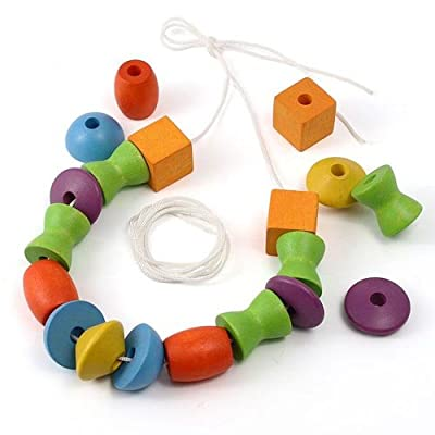PlanToys Wooden Lacing Beads (5353) | Sustainably Made from Rubberwood and Non-Toxic Paints and Dyes: Toys & Games