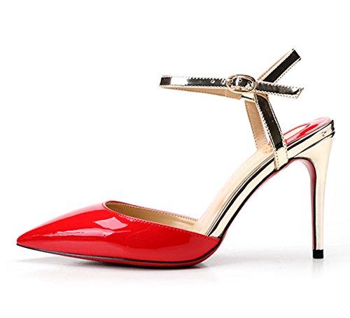 de correa Zapatos Rojo tobillo Guoar con Mujer CqzaBz