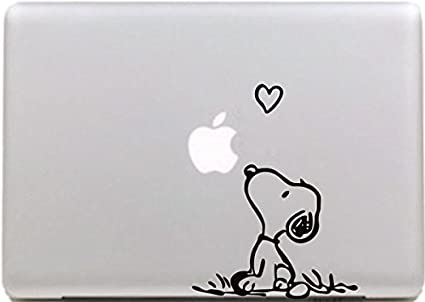 Vati Hojas desprendibles Creativo Amor Snoopy Sticker Decal Skin Arte Negro para Apple Macbook Pro Aire