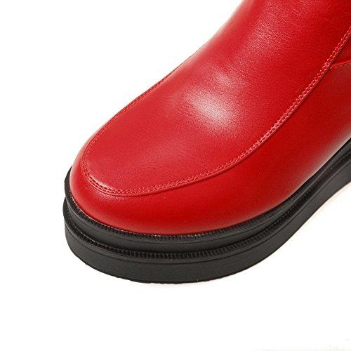 AllhqFashion Mujeres Material Suave Cremallera Puntera Redonda Tacón Alto Tobillo Botas Rojo