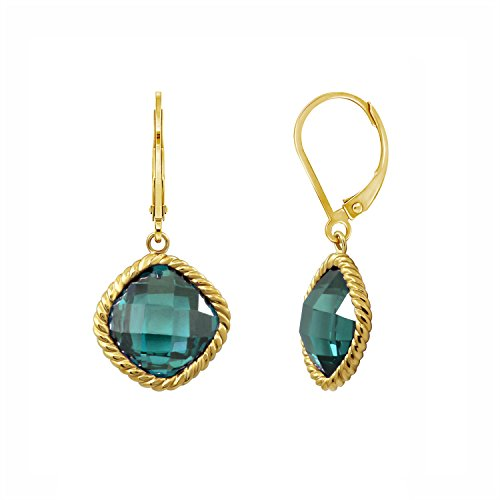 DIAMONBLISS 18K Yellow Gold Plated Sterling Silver Synthetic Spinel #120 Drop Earrings