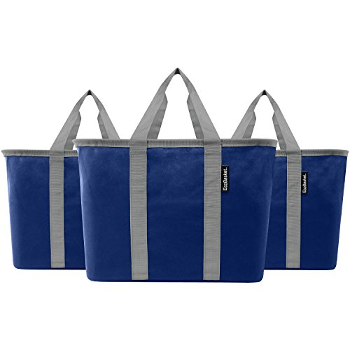 CleverMade EcoBasket 20 Liter Reusable Tote Bag with Reinforced Bottom: Collapsible Grocery Shopping Basket, Blue/Grey, 3 Pack