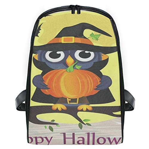 Kid's Backpack Halloween Owl In Witch Costume With Pumpkin Personalized Shoulders Bag Classic Lightweight Daypack for Girls/Boys ()